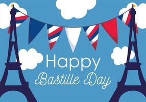 Eiffeltürme mit Wimpeln des glücklichen Bastille-Tages
