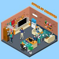 isometrisches Interieur des Coworking Centers