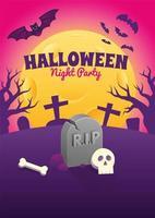 Halloween-Plakat mit Grabstein und Schädel in der Nacht