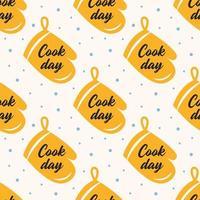 Kochtag gelber Ofenhandschuh nahtloses Muster