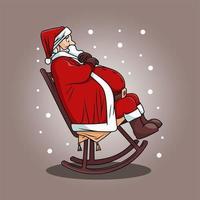niedlicher Weihnachtsmann im Schaukelstuhl-Cartoon-Design