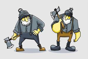2 Satz Holzarbeiter Cartoon Design