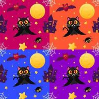 buntes Halloween nahtloses Muster mit Vampirkatze vektor