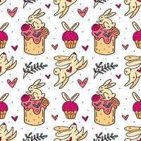 niedlicher Osterhase und Kuchen handgezeichnetes nahtloses Muster