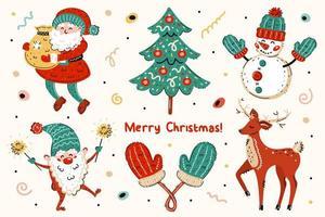 Weihnachtsmann, Weihnachtsbaum, Schneemann, Elf, Fäustlinge, Hirsch gesetzt vektor