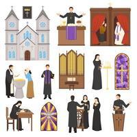 uppsättning religiösa karaktärer och kyrkor