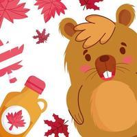 bäver med kanadensiska löv och lönnsirap