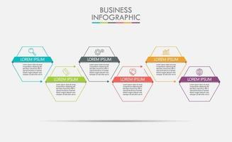 Infografik mit 6 sechseckigen Schritten