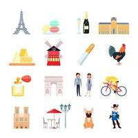 fransk ikonuppsättning vektor
