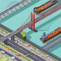isometrische Draufsicht einer Stadt mit Brücken