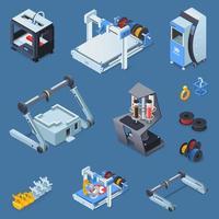 isometrisk utrustning för 3D-utskrift vektor
