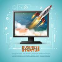 Business Startup Banner Vorlage mit einem Raketenstart vektor
