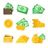 dollar ikonuppsättning vektor