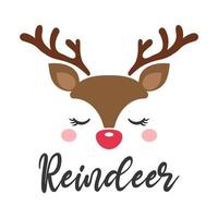 niedliches Rentiergesicht-Weihnachtskartenentwurf