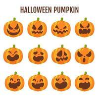tecknad halloween pumpa set vektor