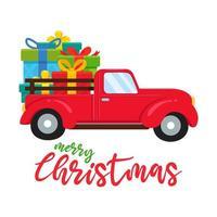 roter LKW, der große Weihnachtsgeschenke trägt