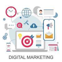 digitala marknadsföringsikoner för webb- och mobiltjänster, appar vektor