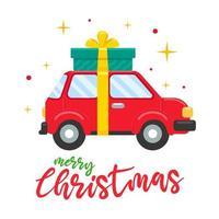 rotes Auto am Weihnachtstag mit großer Geschenkbox vektor