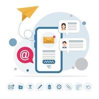 e-postmeddelande på telefonen infographic med ikoner vektor
