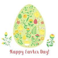 Osterkarte mit Eiform mit Blumen und Hühnern