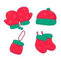 Strickhandschuhe, Mütze, Schuhe und Tasche für den Weihnachtswinter