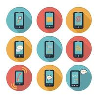 smartphone platt design ikonuppsättning