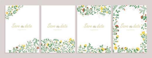 uppsättning gratulationskort med blommig dekor.