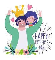 Vater mit Krone trägt Tochter auf Schultern