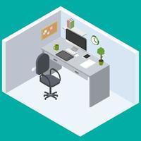 Büroarbeitsbereich mit isometrischem flachem Design