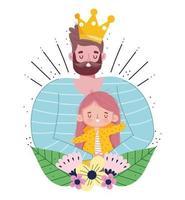 skäggig pappa med krona som håller dottern vektor