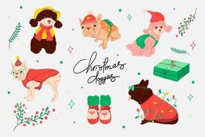 uppsättning juldräkter för hundar