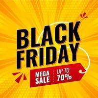 mega svart fredag försäljning banner vektor