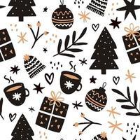 handgezeichnetes nahtloses Muster für Weihnachten vektor