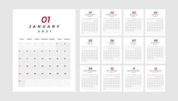 Kalender 2021, 12 Monate in sauberer Minimaltabelle
