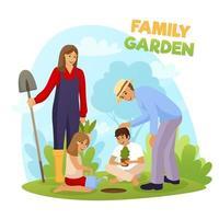 familjens trädgårdsarbete tillsammans vektor