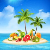 ö med färsk frukt vektor