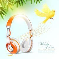 affischmall med realistiska hörlurar och fågel vektor