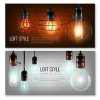 uppsättning banners med realistiska glödlampor