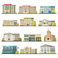 Reihe von städtischen Gebäuden vektor