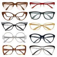 uppsättning realistiska moderna glasögon