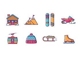 Wintersport und Ferien Icon Pack vektor