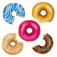 Satz realistisch gegessener Donuts