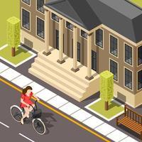 isometrisches Mädchen, das ein Fahrrad draußen reitet