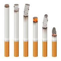 uppsättning realistiska cigaretter som brinner vektor
