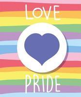 älskar stolthetstext med hjärta i lgbti-flaggan