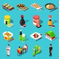 uppsättning isometrisk asiatisk mat