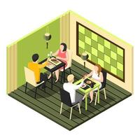 isometrisk sushi bar interiör