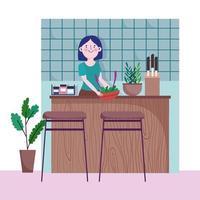 kvinna med grönsaker i skål på köksbänken