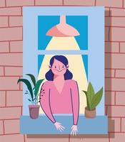 Frau, die das Fenster mit Topfpflanze betrachtet