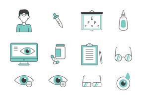 Kricka tunn linje ögonläkare Ikoner vektor